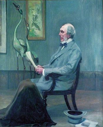 阿尔弗雷得·莫里森与珐琅双鹤的画像